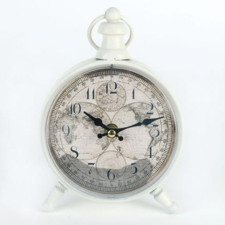 White Atlas Design Vintage Inspired Metal Mantel Clock